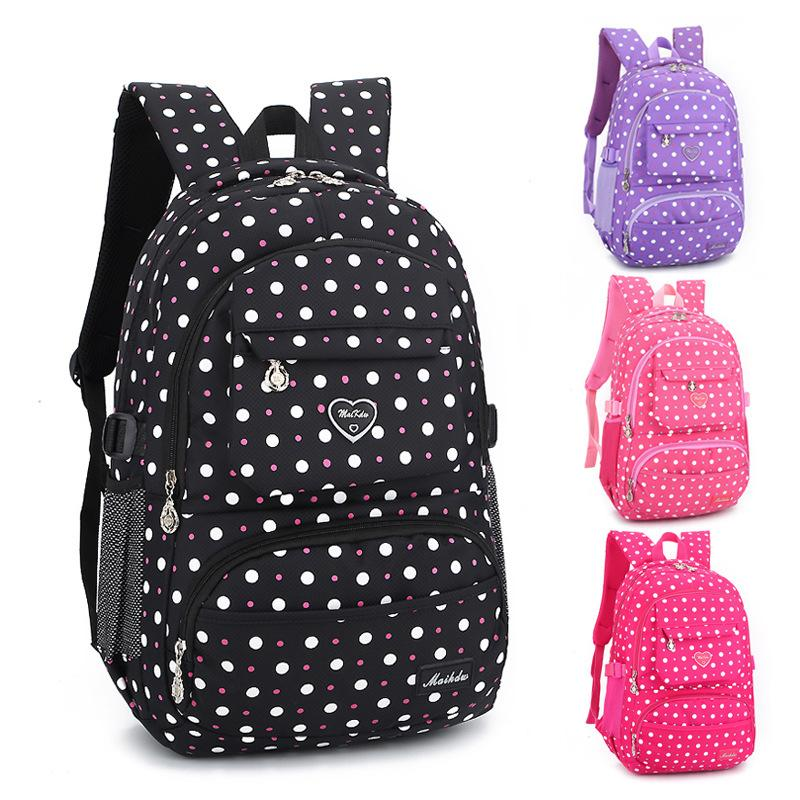 Manufacturers Schoolbag for Elementary School Students 6-12 a Year of Age Girls' Backpack Fashion Polka Dot Anti-Spillage School