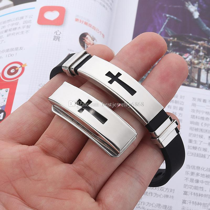 Stainless steel Cross Sign bracelet For Mens & Women Black Silicone Wrap Bangle Titanium steel 2019 Fashion Sport Jewelry Gift
