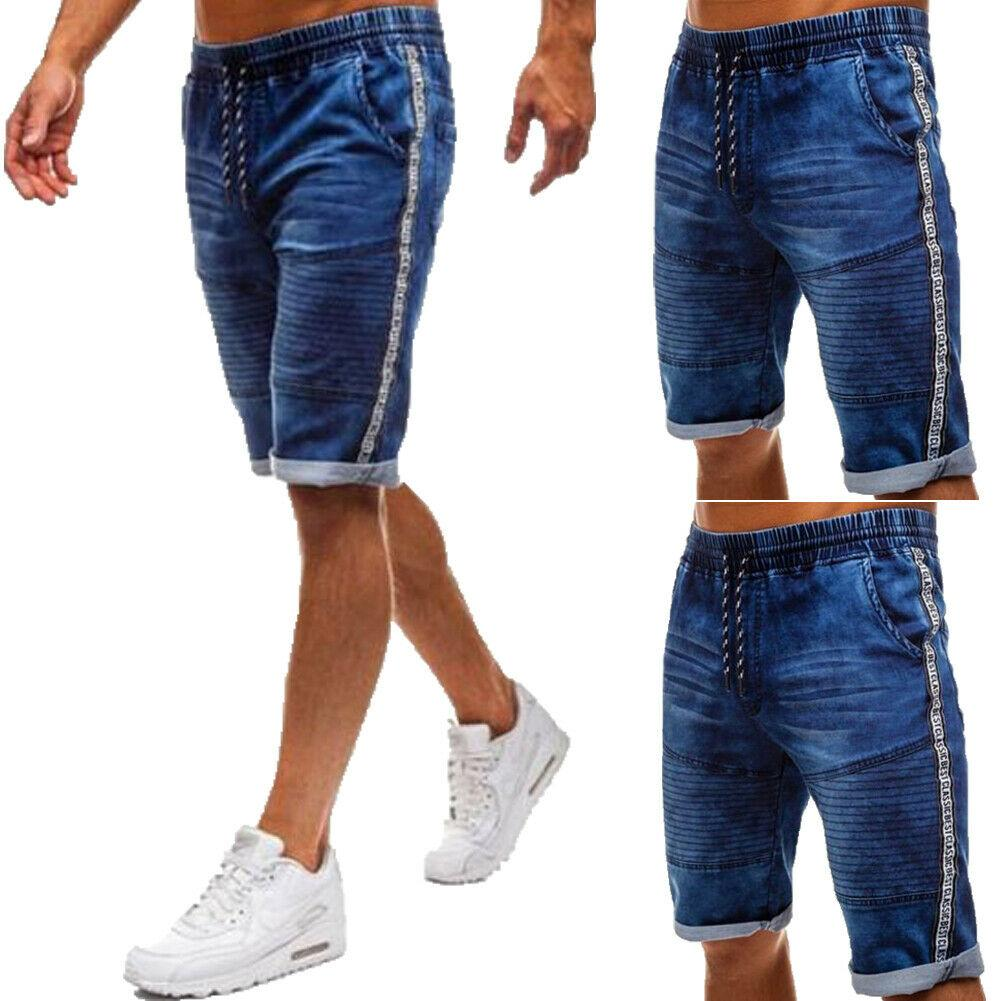 91d59a2d68 2019 Fashion Mens Short Jeans Cargo Denim Shorts Relaxed Fit Work Elastic  Waist Knee Length Baggy Blue Jeans From Jellwaygood, $29.73 | DHgate.Com