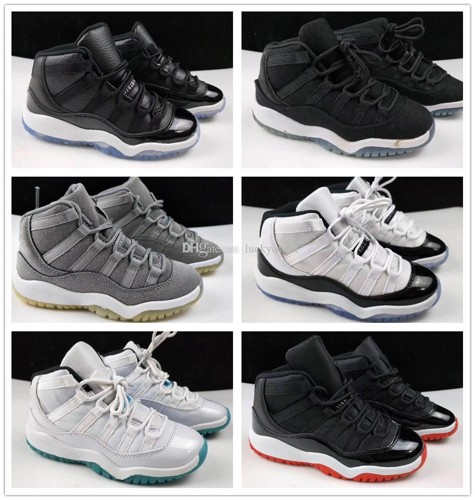 online store 4a751 add7f Großhandel Nike Air Jordan Aj11 Kinder 11 11s Space Jam Bred Concord  Turnhalle Rote Basketballschuhe Kinder Junge Mädchen Weiß Rosa Mitternacht  Navy ...