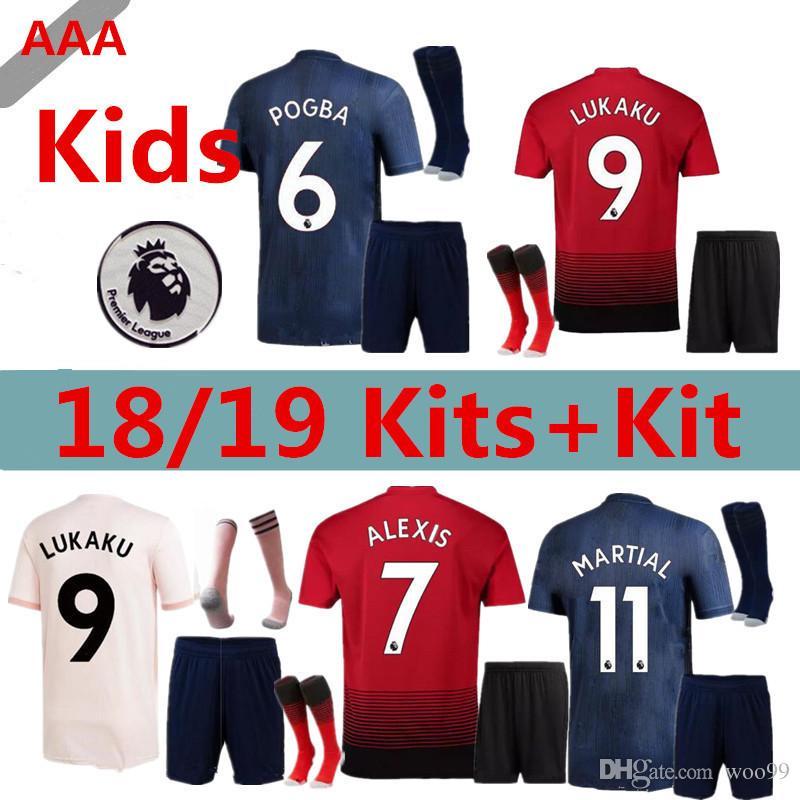 424a18684 Kids 18 19 Man Soccer Jerseys 2018 2019 LUKAKU POGBA UTD MATIC ...