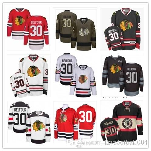new styles 2f275 697e7 2019 Custom Any Name Number Chicago Hockey Jersey Green 30 ED Belfour  Men/WOMEN/ YOUTH Blackhawk Game Worn Hockey Jersey Shirt