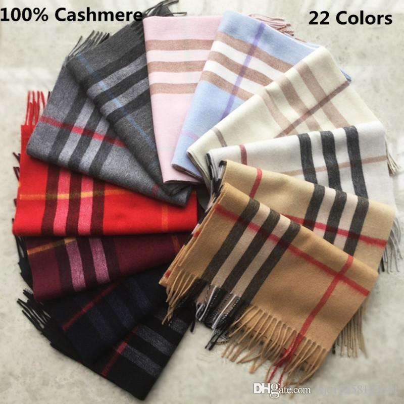 b56c44528 Fashion Winter 2019 Unisex Top 100% Cashmere Scarf For Men And Women  Designer Classic Large Check Shawls And Scarves Luxury Brand Scarfs Green  Scarf Hair ...