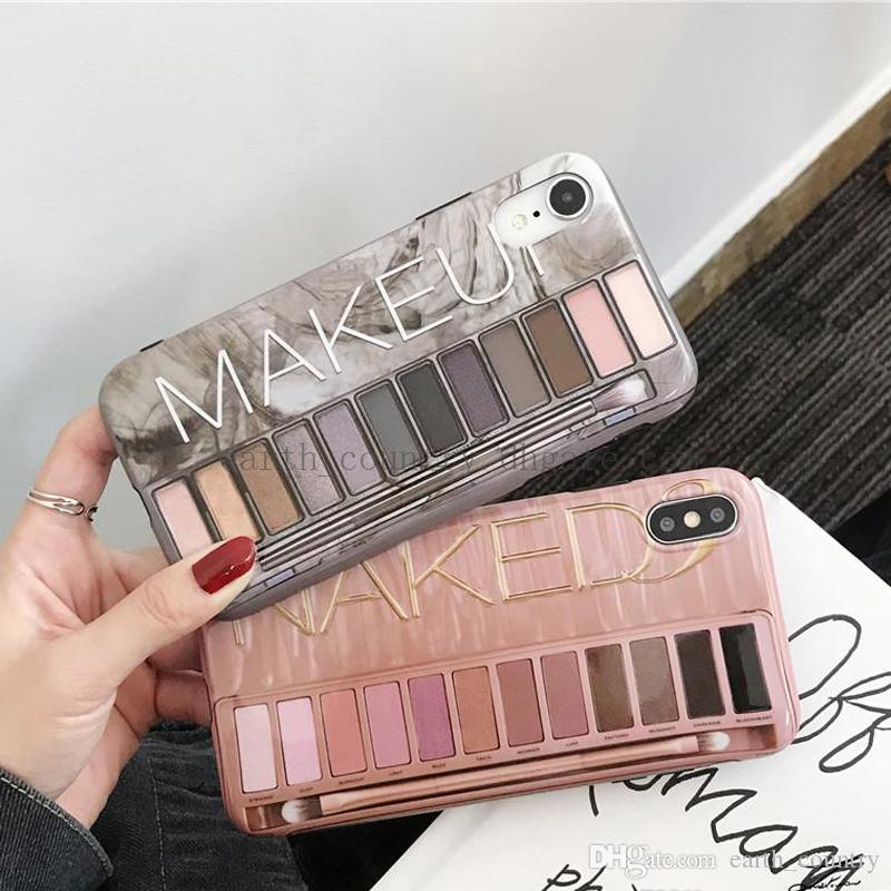 Eye Shadow Box Case For iPhone 11 X XR XS Max IMD Silicone Phone Back Cover For Iphone 6 7 8 Plus