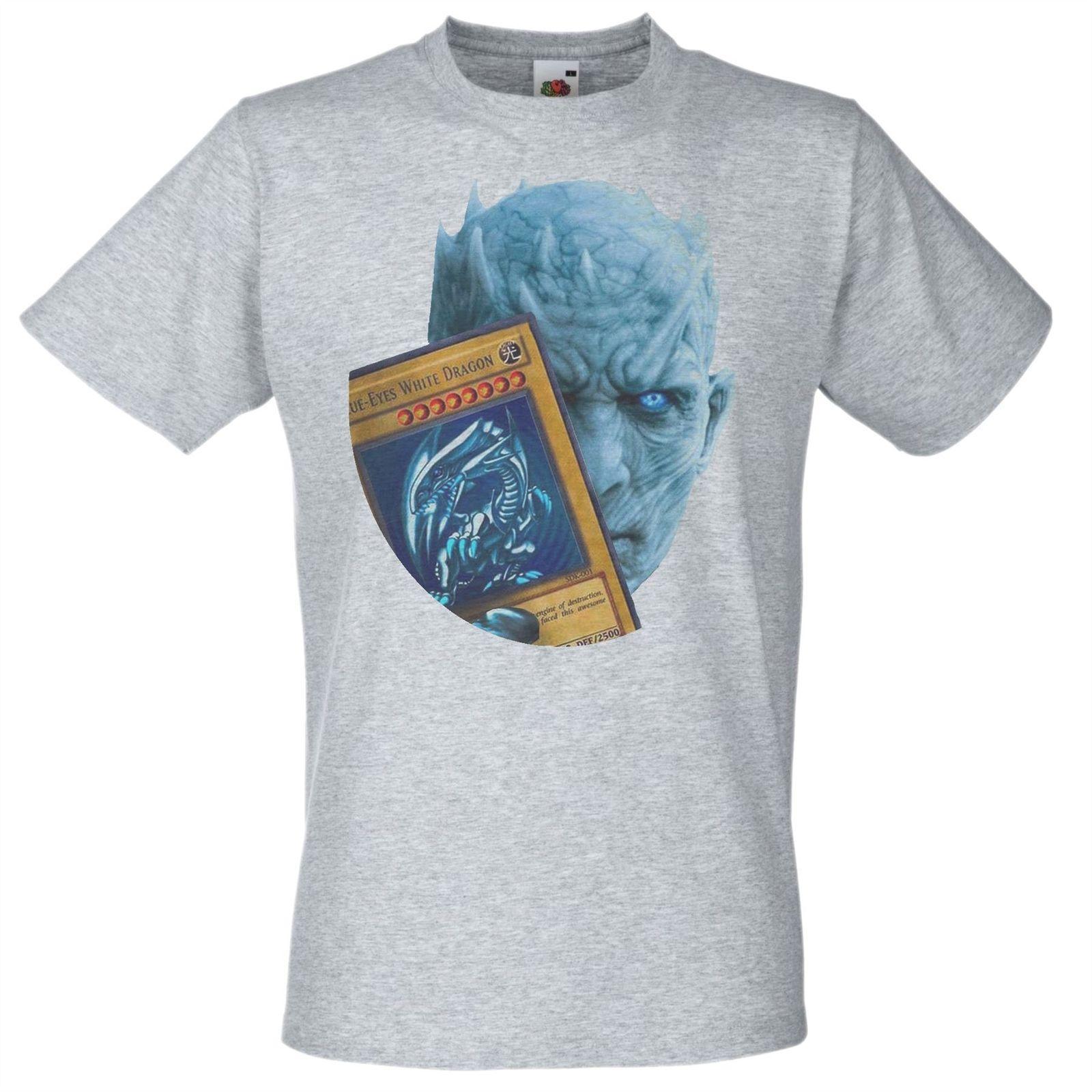 Mens Grey Night King Blue Eyes White Dragon T Shirt Game Of Thrones