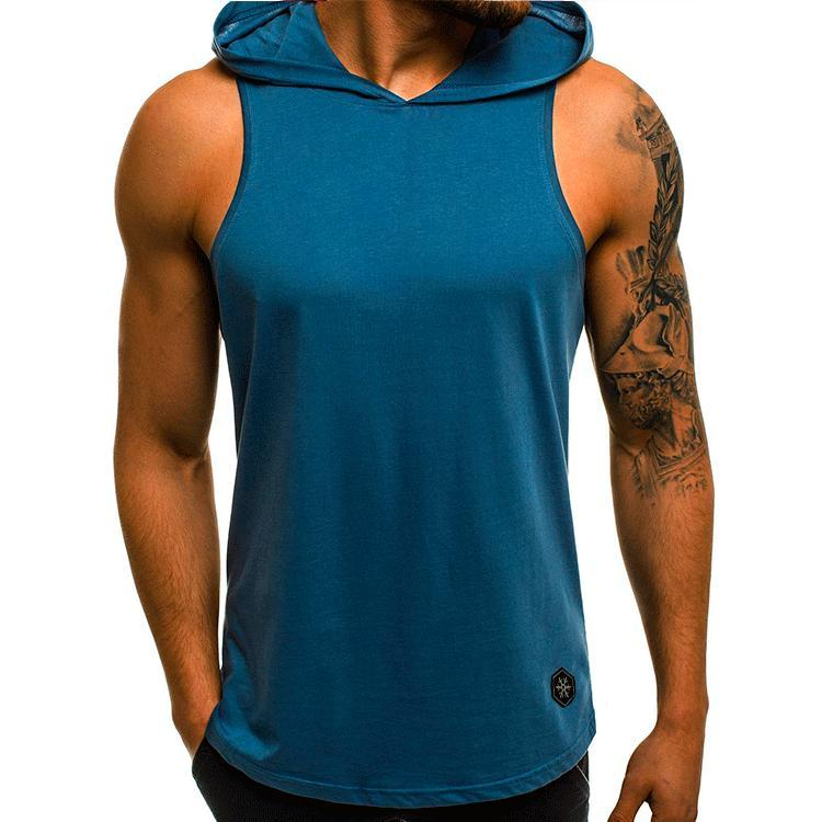 4db69246ec6abb 2019 2019 New Products Fitness Men Bodybuilding Cotton Sleeveless Top Solid  Stringer Hoodie Tank Top Summer Mens Hooded Shirts Cotton Vest From  Xlcsport
