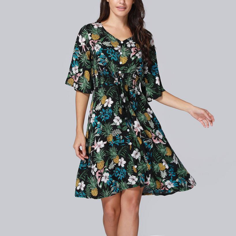 5186287e4d0 MUQGEW 2018 Summer Lady Sexy Deep V Neck Flower Print Dresses Black Print  Hem Folds Bohemian Style Belt Mini A Line Beach Dres Party Formal Dresses  Dress C ...