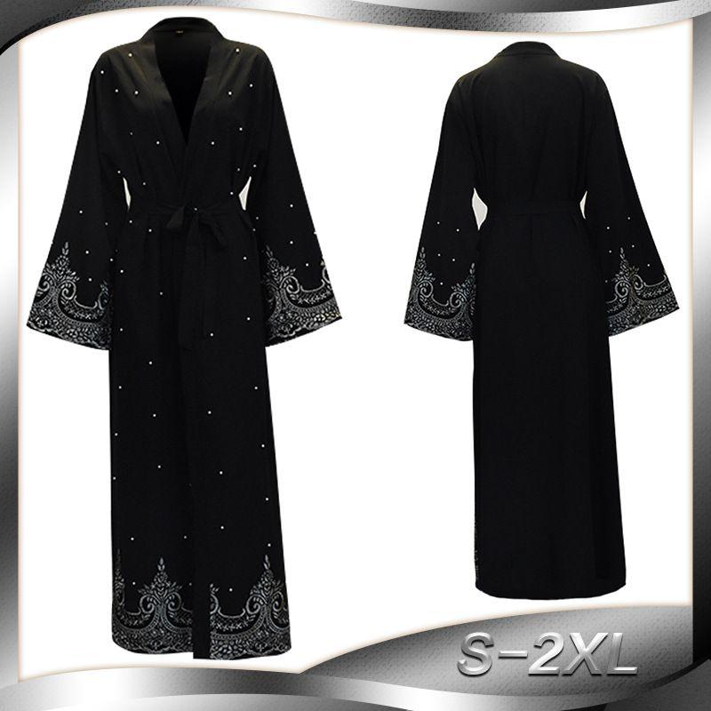 20119eae265bdc 2019 Noir Perles Kaftan Abaya Dubaï Turc Islamique Musulman Hijab Robe  Abayas Pour Femmes Qatar Oman Robe De Jilbab Caftan Vêtements