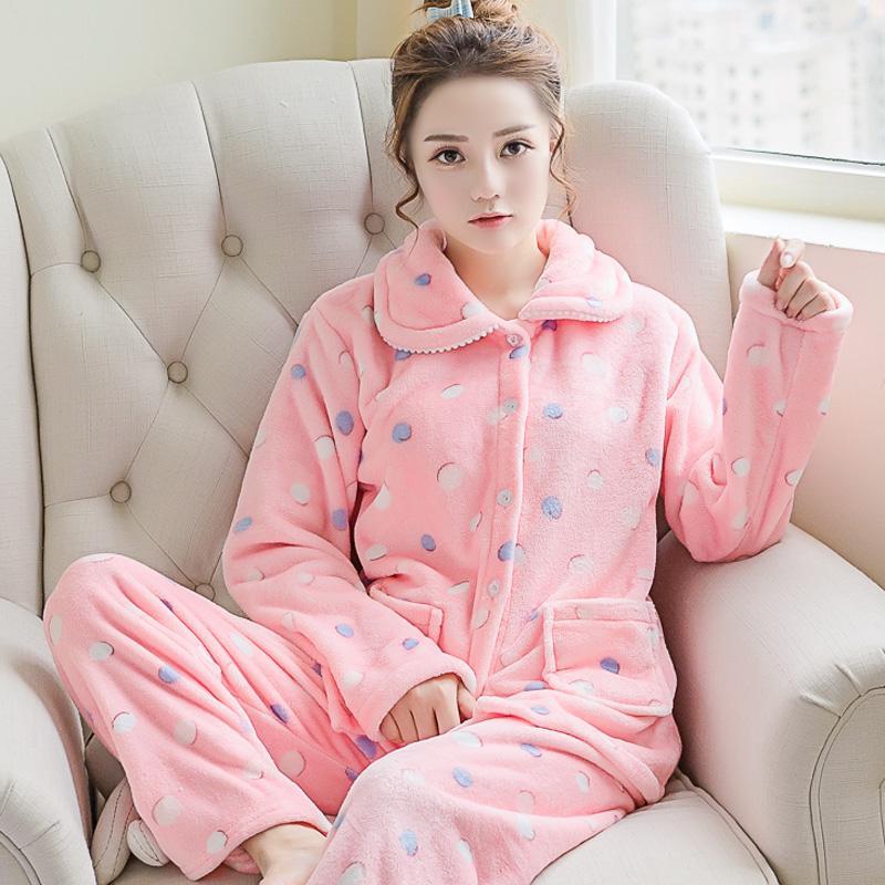 c1d683d37 2019 Lovely Women Soft Flannel Pajamas Set Winter New Thicken Warm Home  Wear Sleepwear Printed Flower Nightwear Pijamas Pyjamas Suit From Shutie,  ...