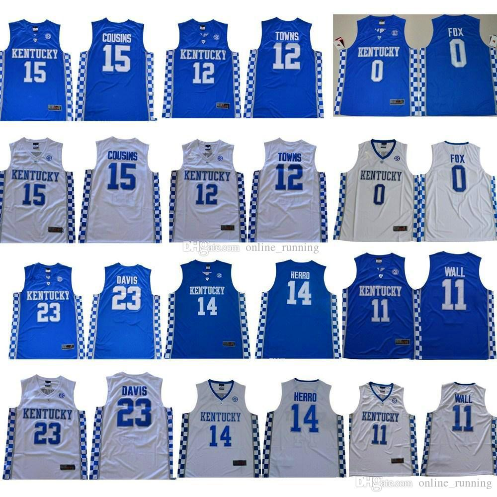 Cousins ​​Kentucky Wildcats Jersey College Basketball Devin Booker John Wall Anthony Davis Karl-Anthony Towns DeMarcus Malik Monk Fox azul