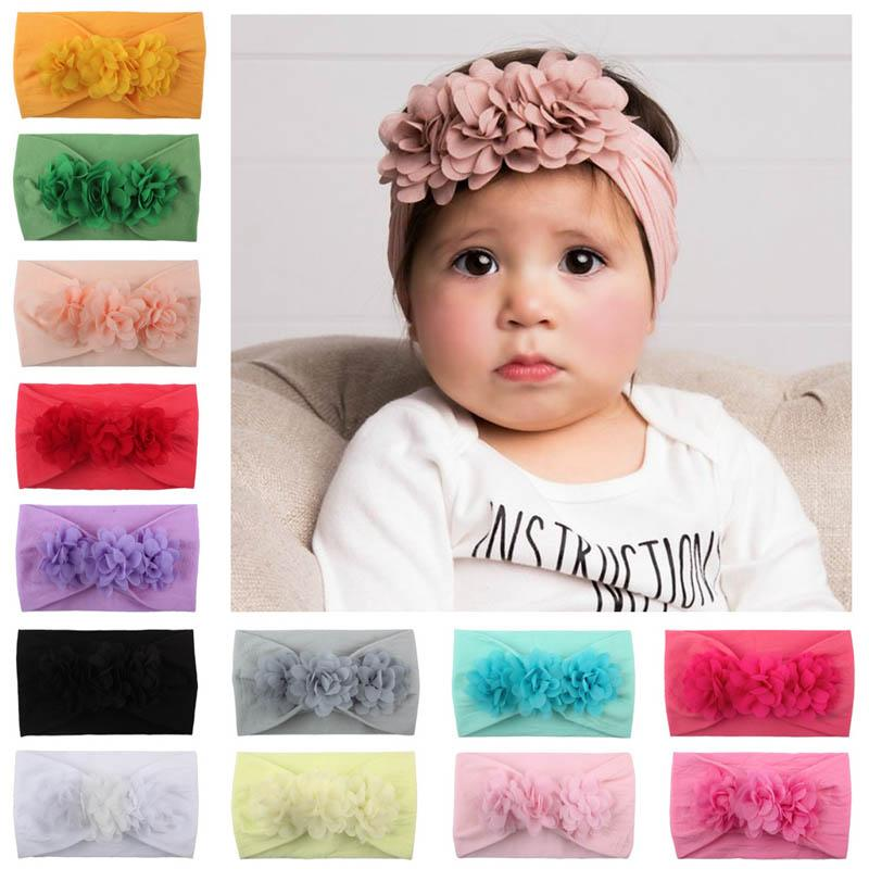 Hot sale Chiffon floral Baby Headbands cute princess Girls Headbands Head Bands Infants Newborn Hair Bands designer kids Hair Sticks A2637