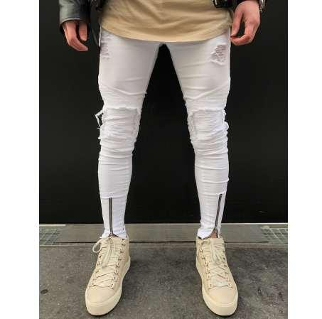 2be1685175d 2019 New Men Ripped Holes Jeans Zip Skinny Biker Jeans Black White Jeans  With Pleated Patchwork Slim Fit Hip Hop Men Pants From Hugo_team, $36.55 |  DHgate.