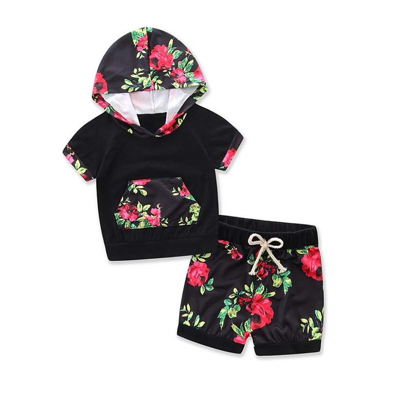 2PCS Baby Sets Newborn Toddler Baby Boy Girl Short Sleeve Floral Hood T-shirt Top+ Print Shorts Set Baby Girl Clothes M8Y16