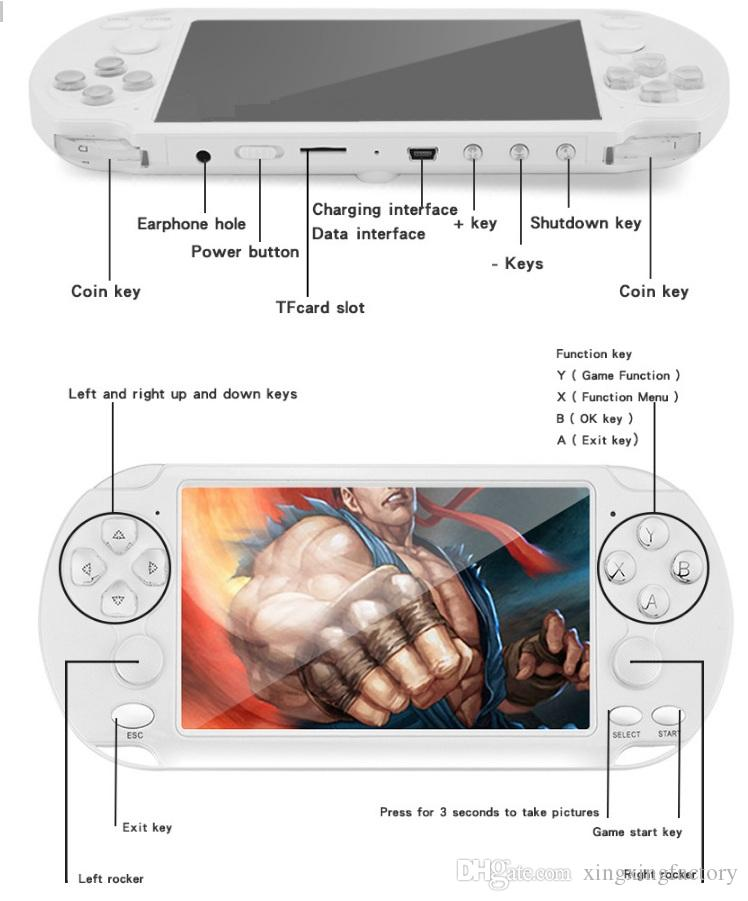 newest X9-S Handheld Game Player 5.1 Inch Large Screen Portable Game Console MP4 Player with Camera TV Out TF Video for GBA FC Game 16G DHL