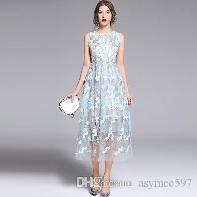 e0fa262f8 Vestidos con paneles de encaje de malla elegante de moda de 2019, vestido  bordado de belleza para dama y niña, faldas midi sin mangas de cuello ...