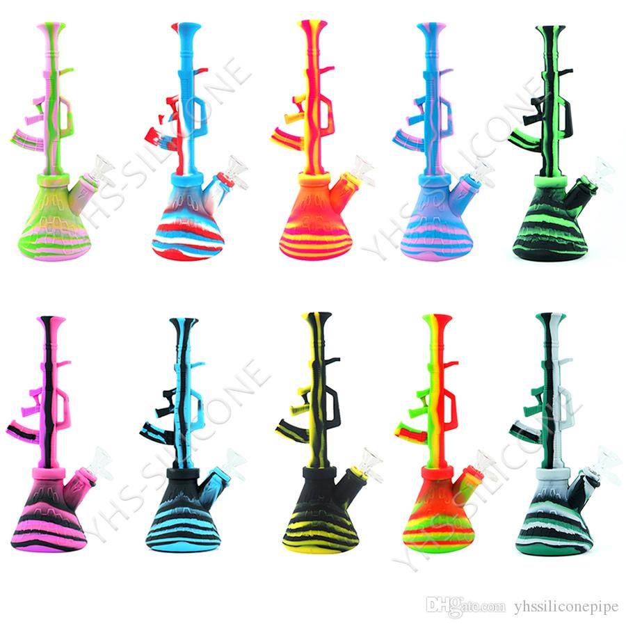 10 6 ak47 shisha hookah unbreakable oil rig glass bong tobacco smoking pipe  with 14mm joint