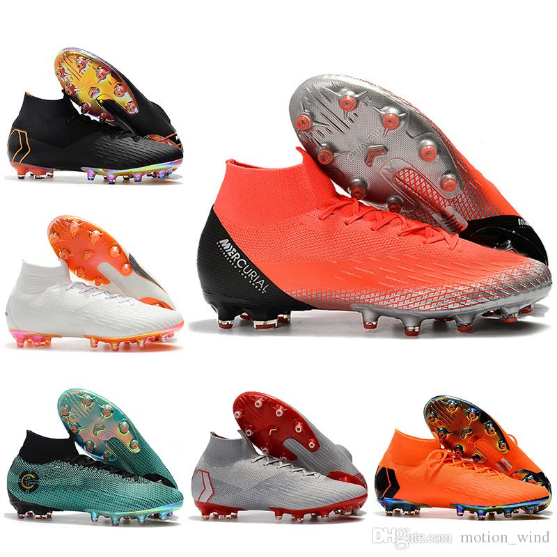 15c9184a2 2019 New Arrival Mens High Ankle Football Boots Mercurial Superfly VI 360  Elite AG Soccer Shoes Cristiano Ronaldo CR7 Neymar ACC Soccer Cleats From  ...
