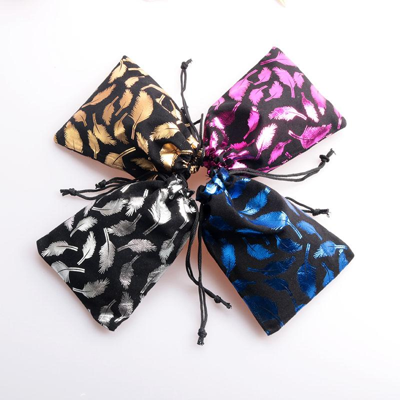 8x10cm/10x14cm Feather Print Velvet Bag Drawstring Jewelry Pouch Candy Jewelry Packaging Bag Small Gift Bag Party Supply
