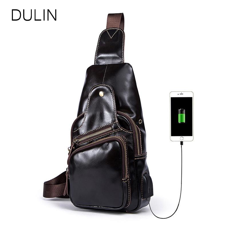 5e0f10a7ec DULIN Men Chest Bag with USB Charging Port Large Capacity Crossbody ...
