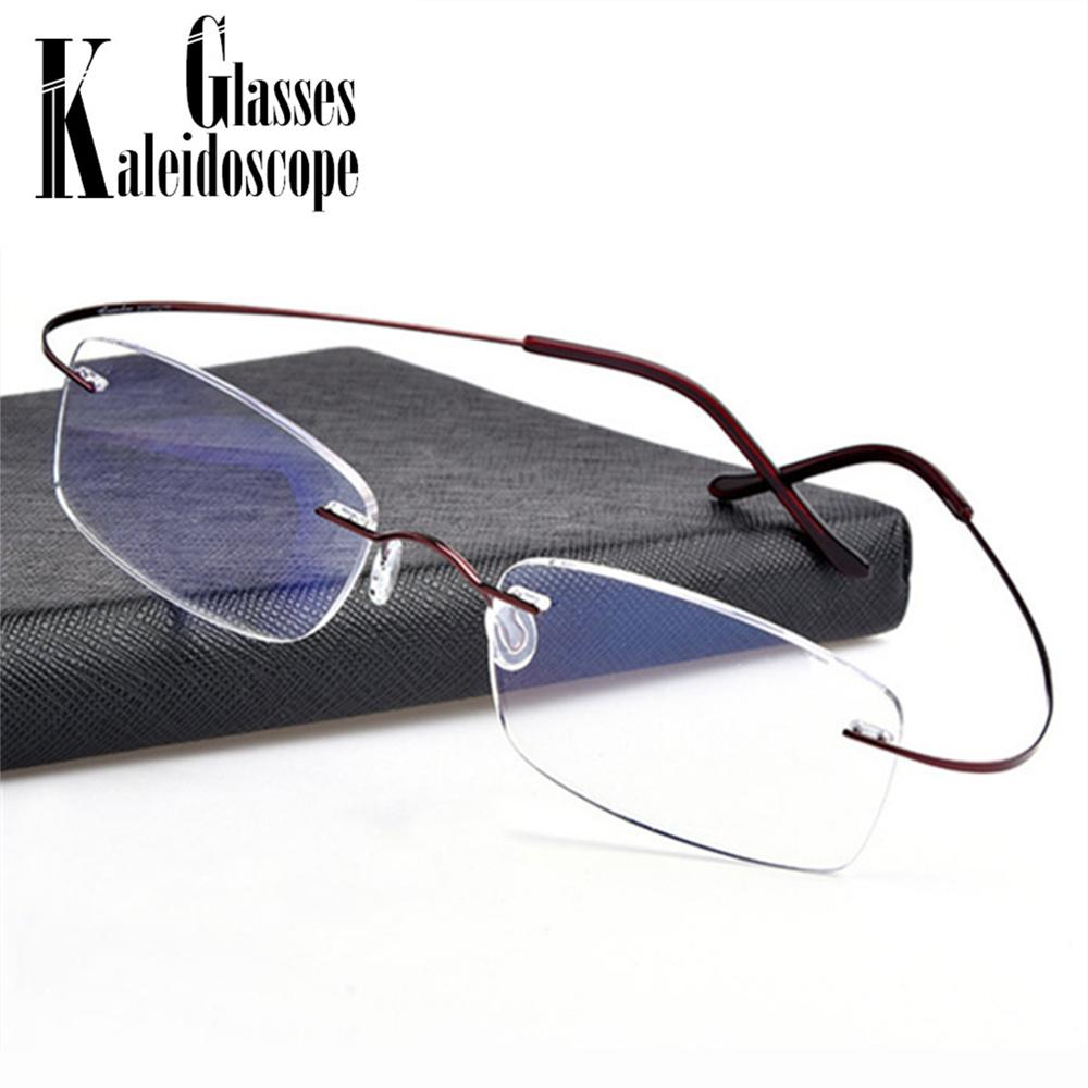 78c77de5392 2019 Super Elastic Titanium Alloy Glasses Frame Ultra Light Metal Myopia Rimless  Men Flexible Optical Frames For Prescription Glasses From Taihangshan
