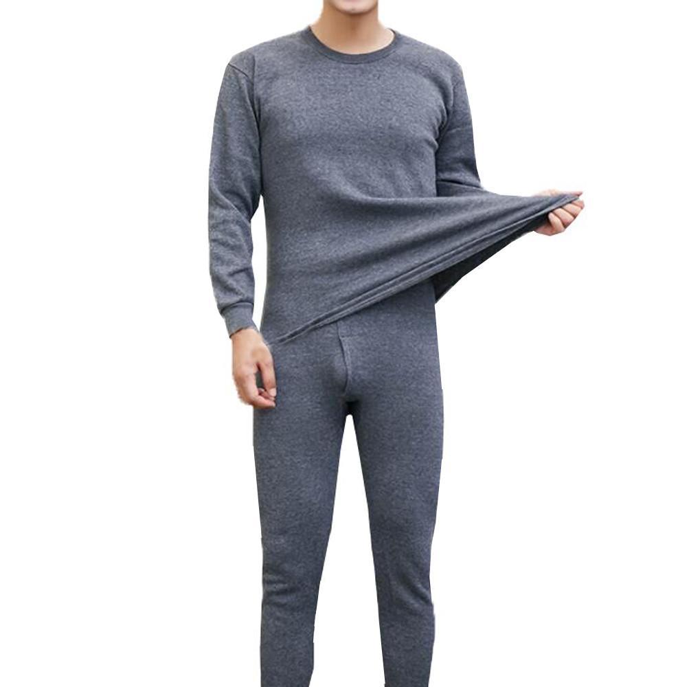 12e897c0e Ropa interior térmica de invierno para hombre Traje Cuello circular Camisa  de color puro + pantalones Conjunto de 2 piezas Cálido grueso más ...
