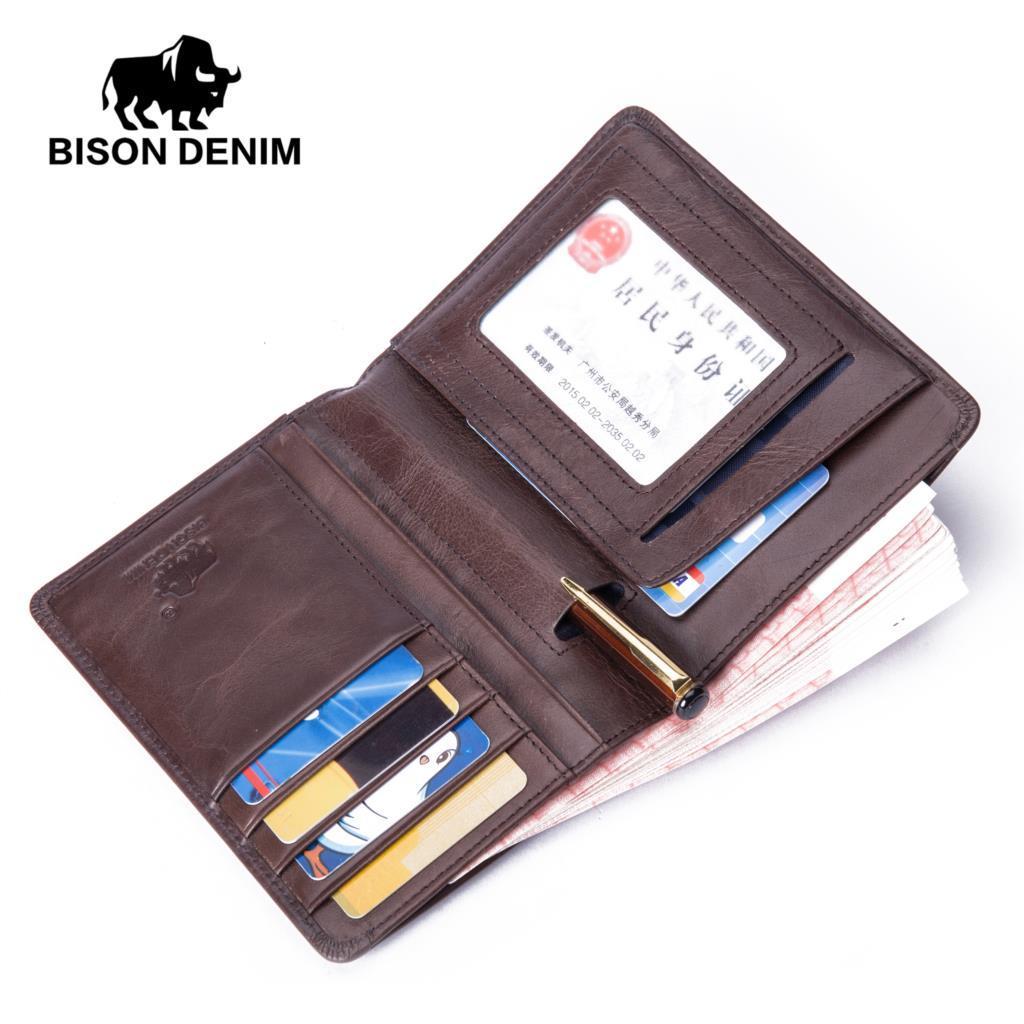 Acheter BISON DENIM Hommes Bourse Veritable En Cuir Couverture Du Passeport Poche ID Titulaire De La Carte Visite Porte Voyage Credit