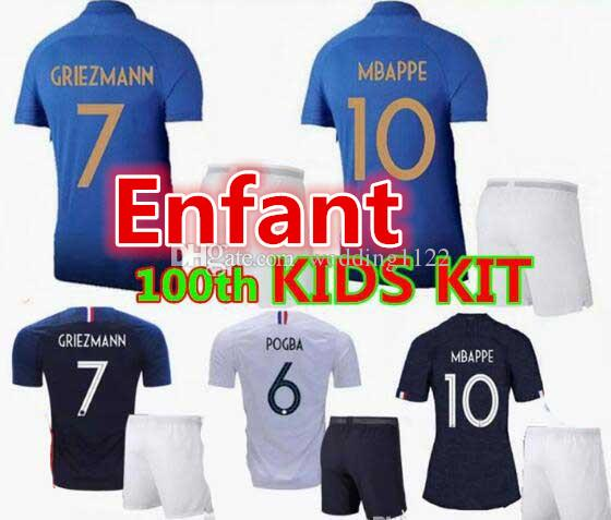huge selection of cee8c 5b0a8 Two stars 2 100th anniversary GRIEZMANN MBAPPE Kids kit soccer jersey boys  child world cup 2018 POGBA UMTITI LACAZETTE maillot de foot