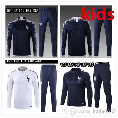 2018 2019 niños del juego del francés Formación 2star équipe nationale Survêtement 18 19 Royal Bleu Pogba Griezmann Football Veste kit