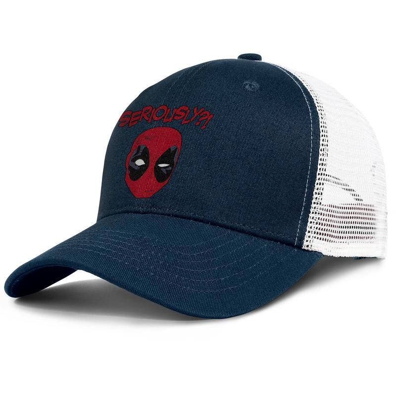 Deadpool head seriously Marvel movie dark_blue mens and womens sports Baseball hats designer Fashion mesh cap Embroidered trucker caps