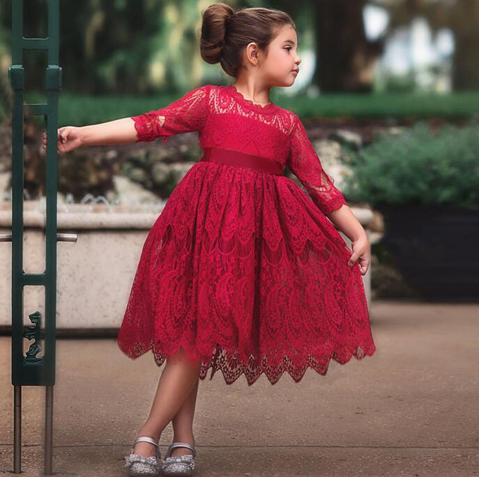 9c0adaf43ec9c High Quality New Baby Girls Clothes Kids Lace Long-sleeve Dress Fashion  Birthday Party Princess Dresses 3 8 Year-old