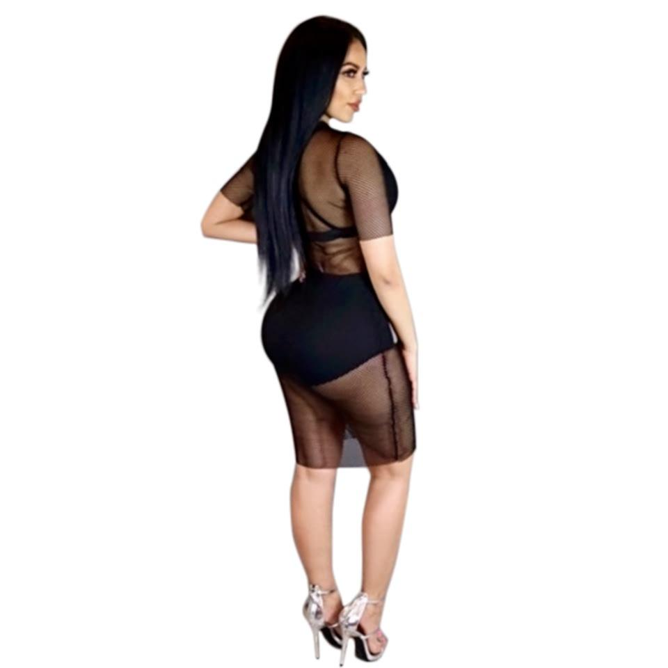 Womens Designer Dress 2019 Summer Luxury New Sexy Perspective Lace Dresses Nightclub Style Sexy Tight Skirt Mesh Bottom Long Dress