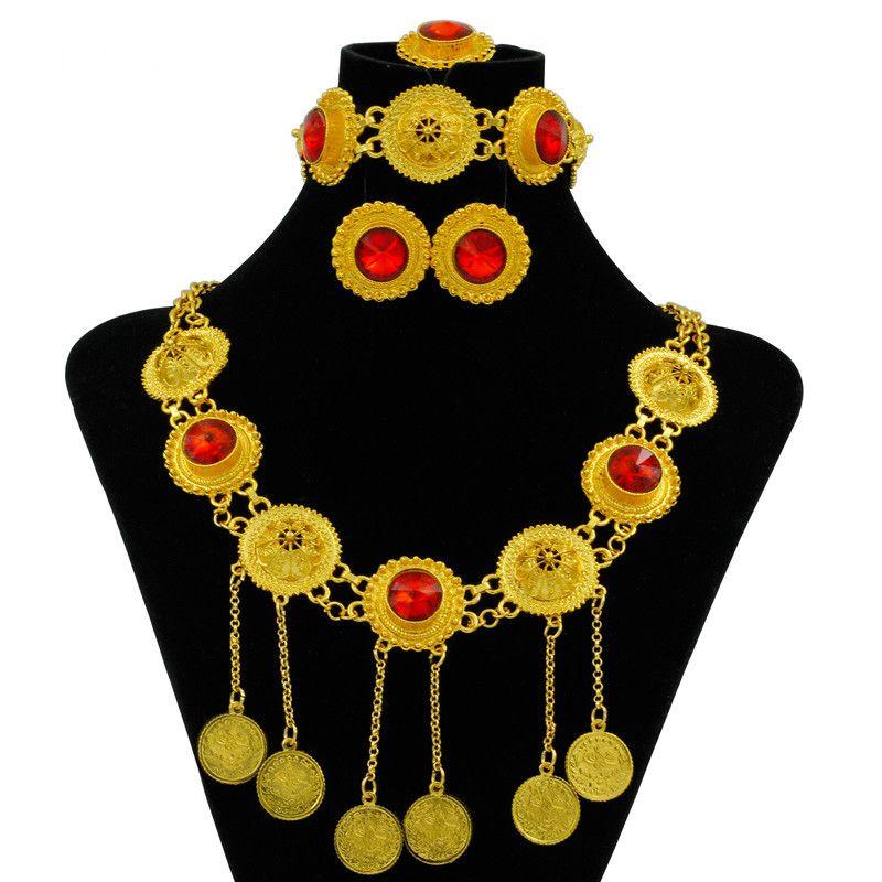 Hot Fashion Italia Dubai Red Yellow Rose ciondolo collana orecchini anello donne di lusso set di gioielli in cristallo accessorio da sposa di fascino