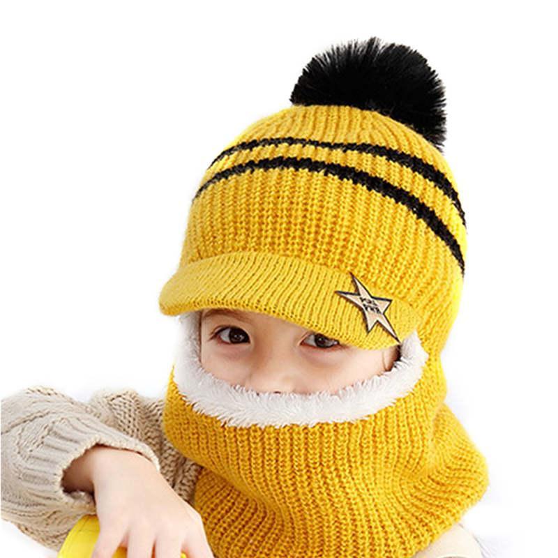 2019 Sevimli Kış Çocuk Örgü Şapka Yüzük Eşarp Takımları Çocuk Bebek Artı Kadife Kalın Yumuşak Cap Erkekler Kızlar Polar Astar takkelerden Isınma