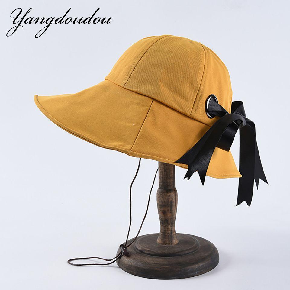 e787d9583fc1fe Yangdoudou Large Brim Bow Hats Women Spring Summer Leisure Fisherman Hat  Fold Sunscreen Beach Travel Hats Youth Sunshine Sun Hat Straw Hats From  Splendone, ...