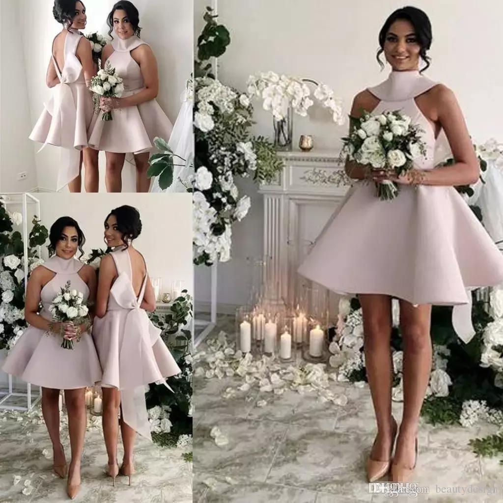 ef9e6a3422a 2019 Vintage 1950s Style Short Halter Satin Bow Back Bridesmaids Formal Dresses  A Line High Neck Backless Short Sleeve Knee Length Glamorous Bridesmaid ...