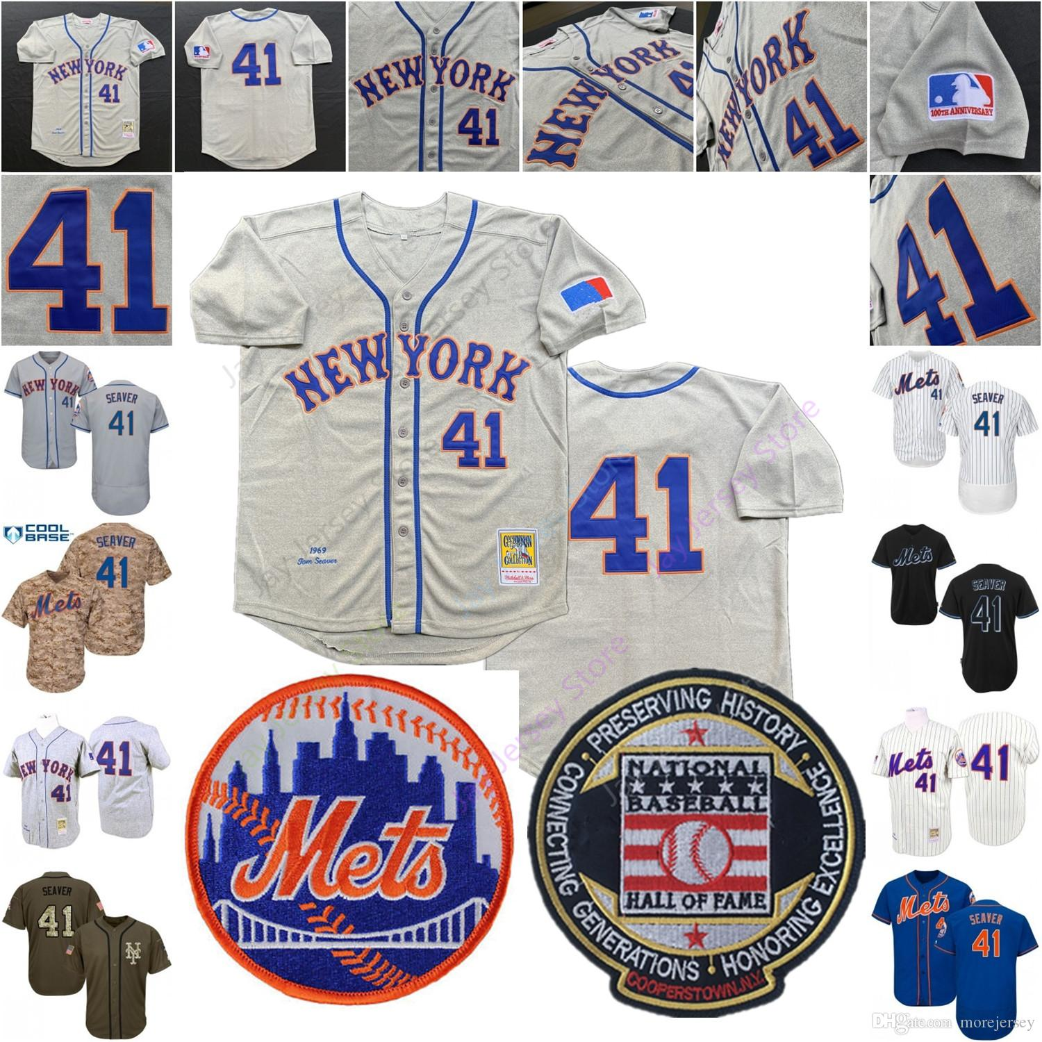 new concept 65f3f 78ac8 Tom Seaver Mets Jersey 1969 Camo MN Cool Base Pink Camo Cooperstown  Baseball New York Home Away White Pinstripe Blue Men Women Youth Kid