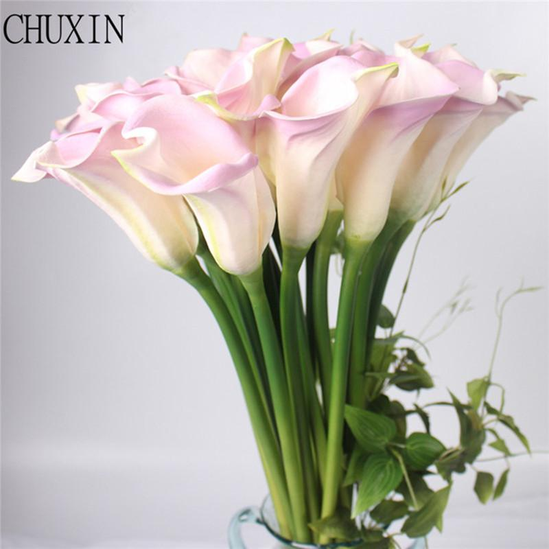 lores artificiais Big Size Real Touch PU Calla lily Artificial Flower Hand Feel Flores Artificiais For Wedding Decoration Home Party deco...
