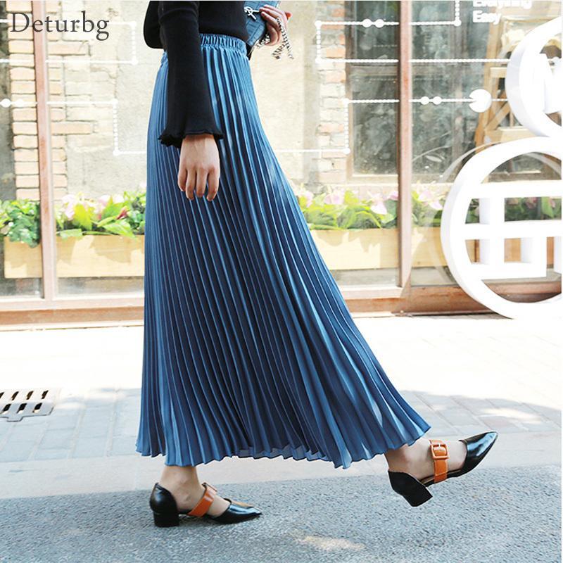 65858030d 2019 Womens Fashion Pleated Midi Long Skirt Female Korean Japanese Casual High  Waist Skirts Jupe Faldas 2019 Spring Sk295 J190411 From Babala3, ...