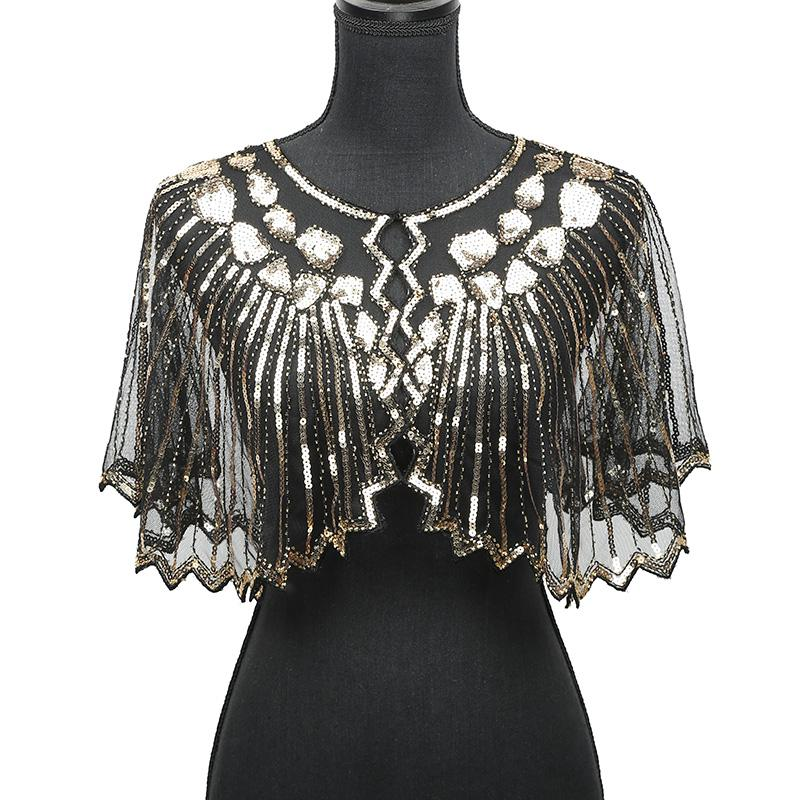 28b62f34a27 Women Scarves 1920s Flapper Embroidery Fringe Shawl Cover Up Gatsby Party  Beaded Sequin Cape Vintage Mesh Scarf Wraps for Dress