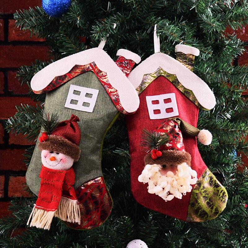 2019 Christmas Small House Shape Stockings With Hanging Rope Sock Santa Claus Candy Gift Bag Christmas Stockings Decoration
