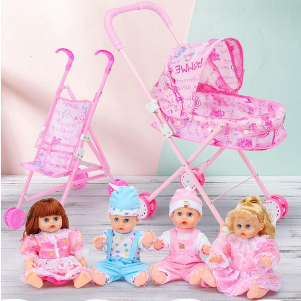 Baby Stroller Mother & Kids Reliable Doll Stroller Baby Stroller Trolley Nursery Furniture Toys Doll Trolley Toy Simulated Stroller For Indoor Outdoor Use