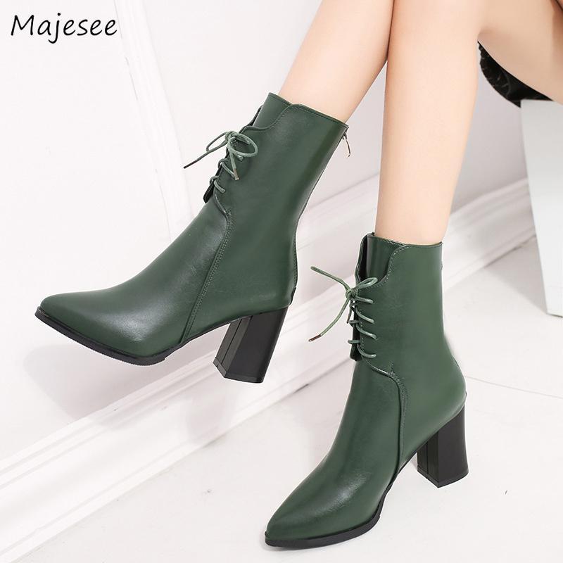Color Todo Ocio Altos Cordones Estilo Estrecha Zapatos Tacones Para Fósforo Con Sólido De Punta Botas Damas Coreano Sencillo Mujer Elegante YD9EIW2H
