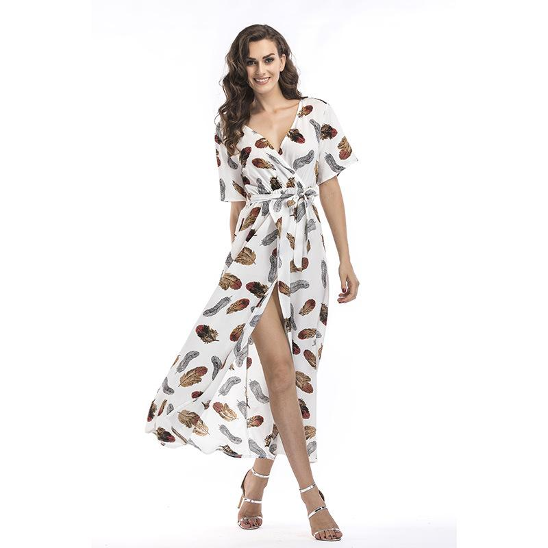 Womens Dresses 2019 Summer New Fashion Print Skirt Sexy Split Follow Pattern Dresses Casual V-neck Holiday Breathable A-line Dress 13 Styles