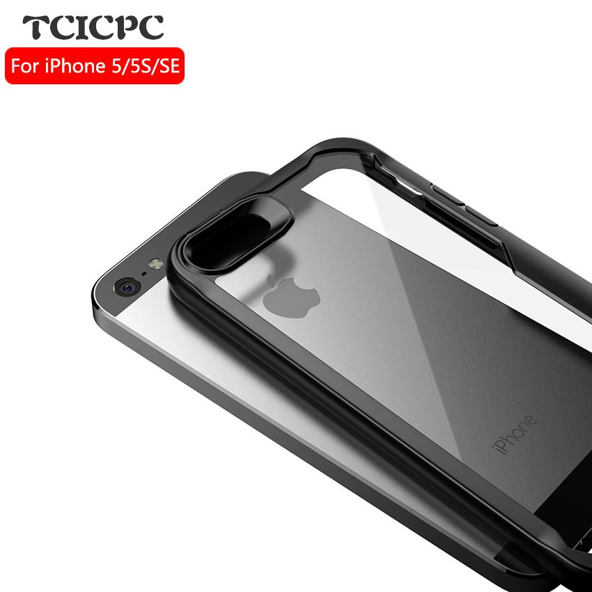 buy popular bb4d7 7571d TCICPC For Iphone 5S case for iphone SE case Acrylic transparent back cover  phone cases for Apple Iphone 5 5S SE shook proof