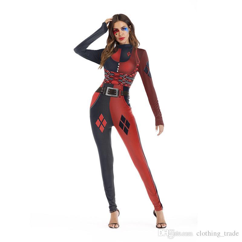 Halloween Joker And Harley Quinn Costumes.Halloween Cosplay Costume Suicide Squad Harley Quinn Costume Suicide Squad Harlequin Cosplay Jumpsuit Clown Joker Fancy Dress