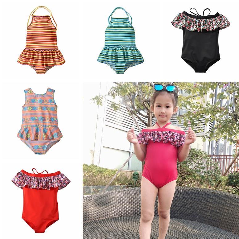6597bad401f 2019 Children Striped Floral Print Swimwear Summer Baby Beach Ruffle Off  Shoulder Bathing Suit Bikini Kids One Pieces Swimsuit TTA693 From B2b_life,  ...