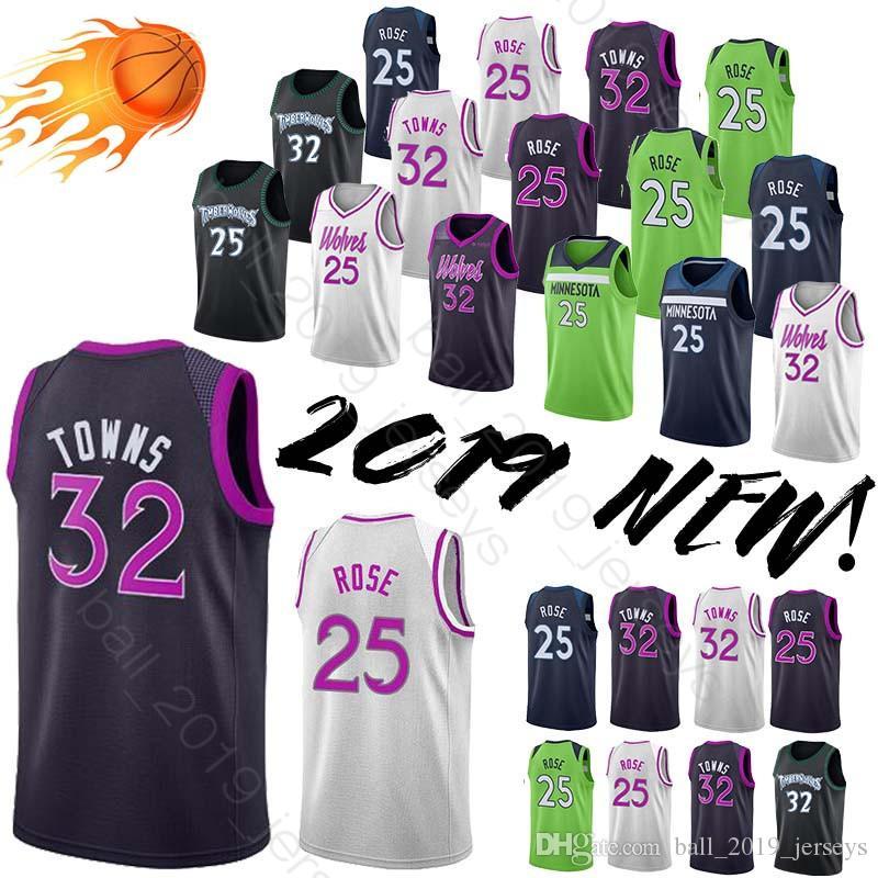innovative design 7daa5 d3eb5 Minnesota jersey Timberwolves 25 Rose jersey 32 Towns hot sale 2019 new men  basketball sportswear jerseys