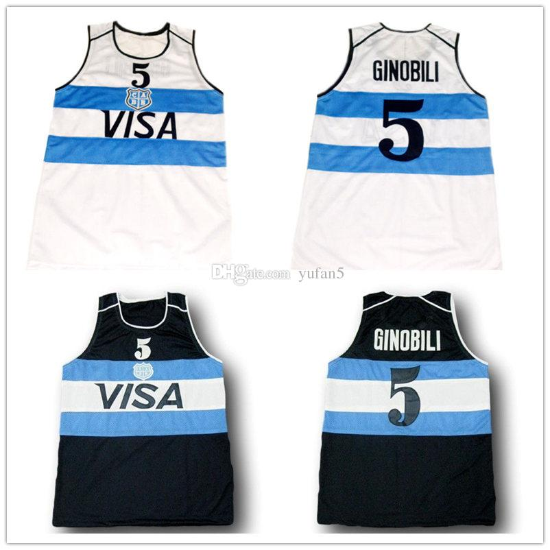 df1ef0cef6 2019 #5 Manu Ginobili Visa Team Argentina White Navy Blue Retro Classic Basketball  Jersey Mens Stitched Custom Number And Name Jerseys From Yufan5, ...
