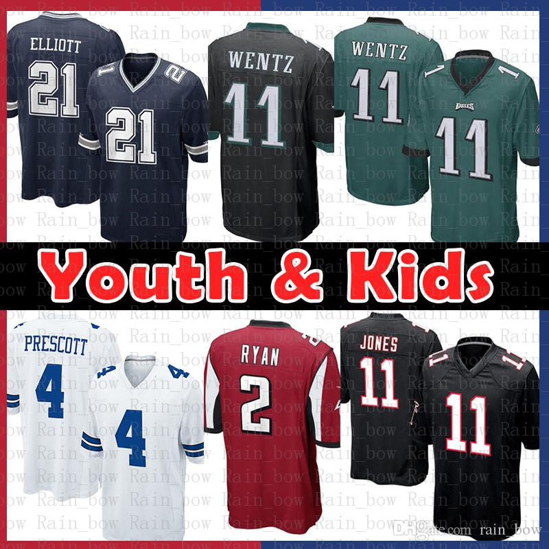 pretty nice 88da2 5a47b Youth Kids Philadelphia Eagles 11 Carson Wentz Dallas Jersey Cowboys 4 Dak  Prescott 21 Ezekiel Elliott Atlanta 2 Ryan 11 Julio Jones Falcons