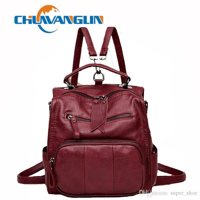 6d75aa758a721 Großhandel Chuwanglin Spring Leder Rucksack Damenmode Multifunktions ...
